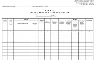 Журнал регистрации путевых листов образец 2019 рб